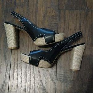 Gianni Bini Black Wedge Cork shoes size 9.5